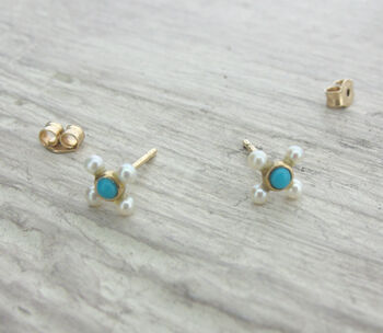 Gold Turquoise And Pearl Earrings