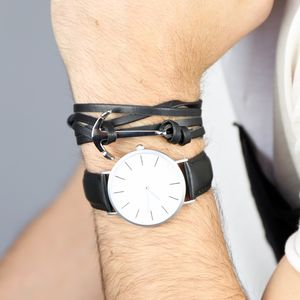 Men's Leather Bracelet With Stainless Steel Anchor