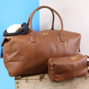 Personalised Vintage Travel Luggage Set - holdalls & weekend bags