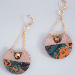 Starburst Marbled Statement Cutout Hoop Earrings