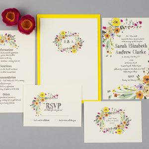 Wild Flowers Wedding Invite Set - save the date cards