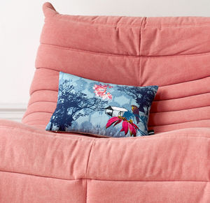 Exotic Flower Print Cushion