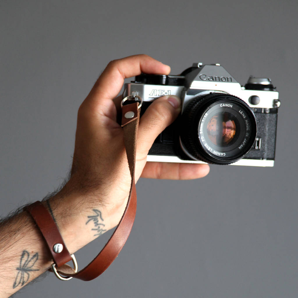 Personalised Leather Camera Wrist Strap by Hyde Wares