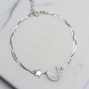 Sterling Silver Pave Moon And Star Bracelet - bracelets & bangles