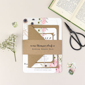 Blush Floral Wedding Stationery Sample Pack - invitations