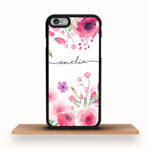 Personalised iPhone Case Pink Flowers