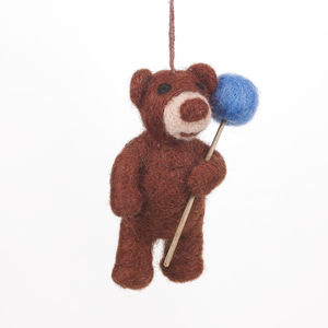 Handmade Felt Bear With Balloon - decorative accessories