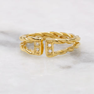 18ct Gold Vermeil Diamond Rope Ring