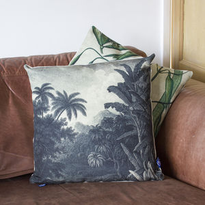 Monochrome Jungle Print Cushion - cushions