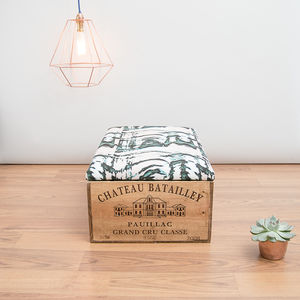 Reclamined Wooden Wine Crate Footstool