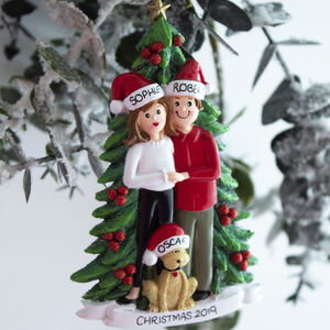 Personalised Couple With Dog Christmas Decoration