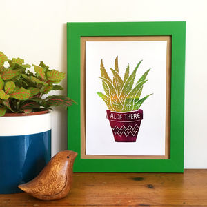 Aloe There Foil Mini Plant Print - still life