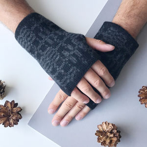 Mens Lambswool Knitted Fingerless Gloves