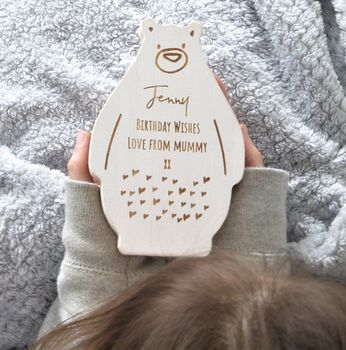 Personalised Birthday Wooden Bear Keepsake