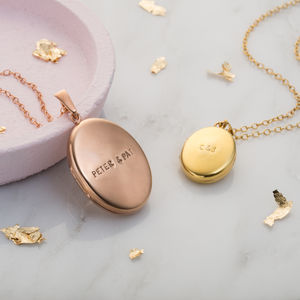 Personalised Message Locket Necklace - 50th anniversary: gold