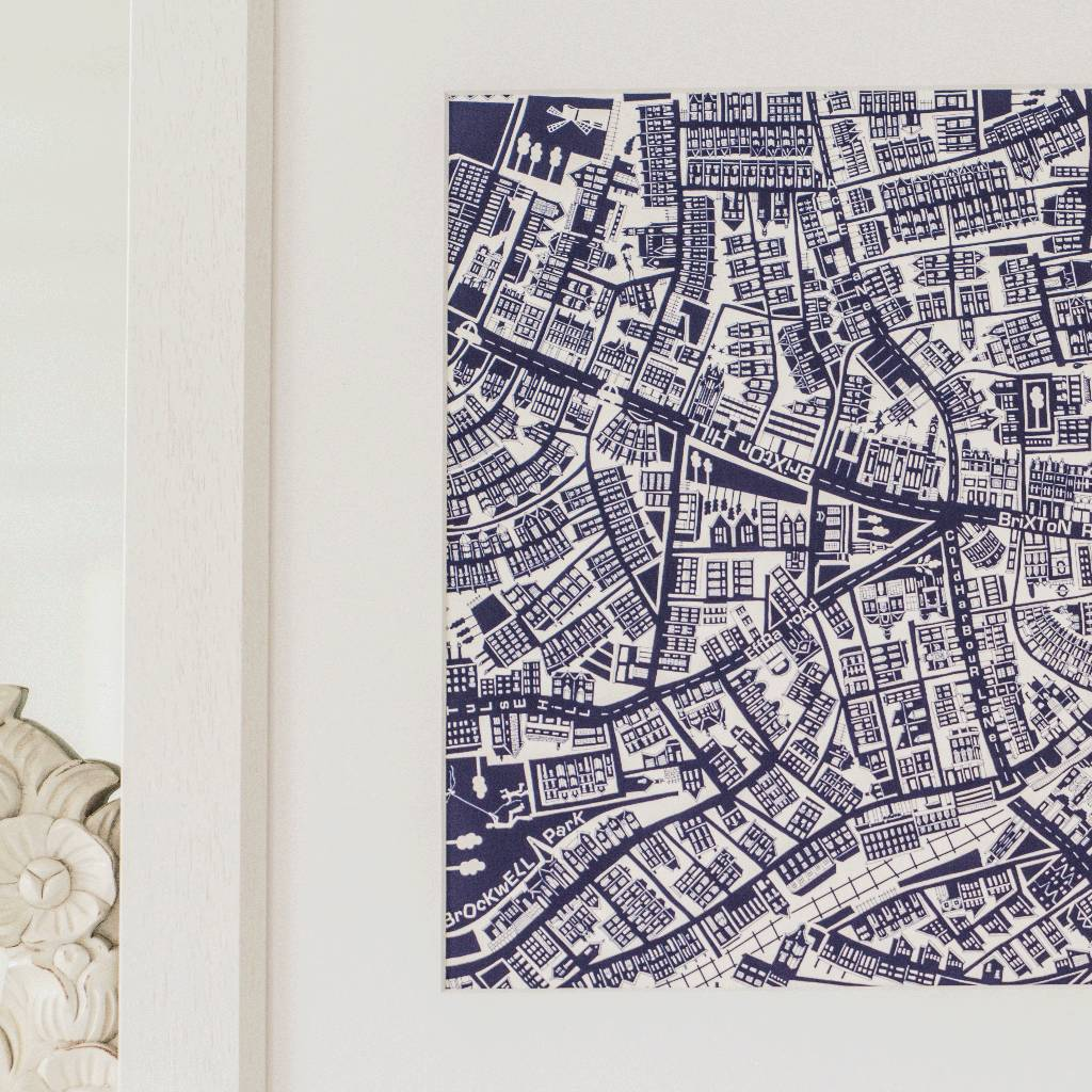 brixton london framed illustrated map print