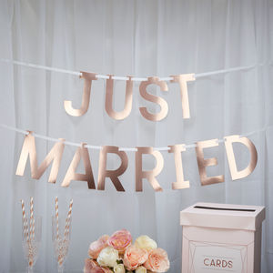 Blush Rose Gold Just Married Bunting - outdoor decorations