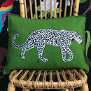Hand Embroidered Leopard Cushion