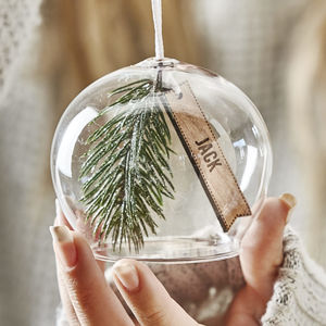 Personalised Christmas Sprig Glass Bauble - tree decorations