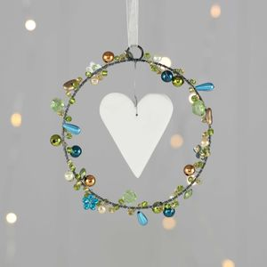 Turquoise Beaded Hanging Heart Decorations - home accessories