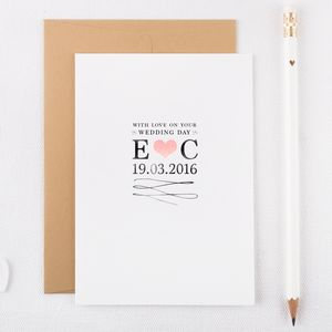 Hand Embellished Wedding Day Card - wedding cards
