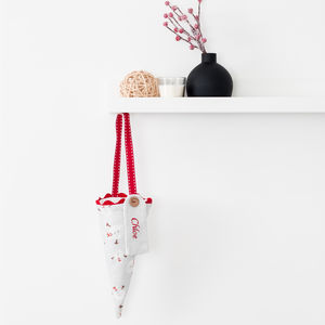 Personalised Snowman Linen Sweetie Cone - stockings & sacks