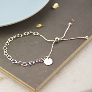 Personalised Sterling Silver Chain Slide Bracelet