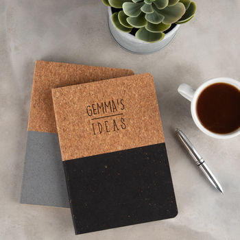 Personalised Engraved Vegan Cork Notebook