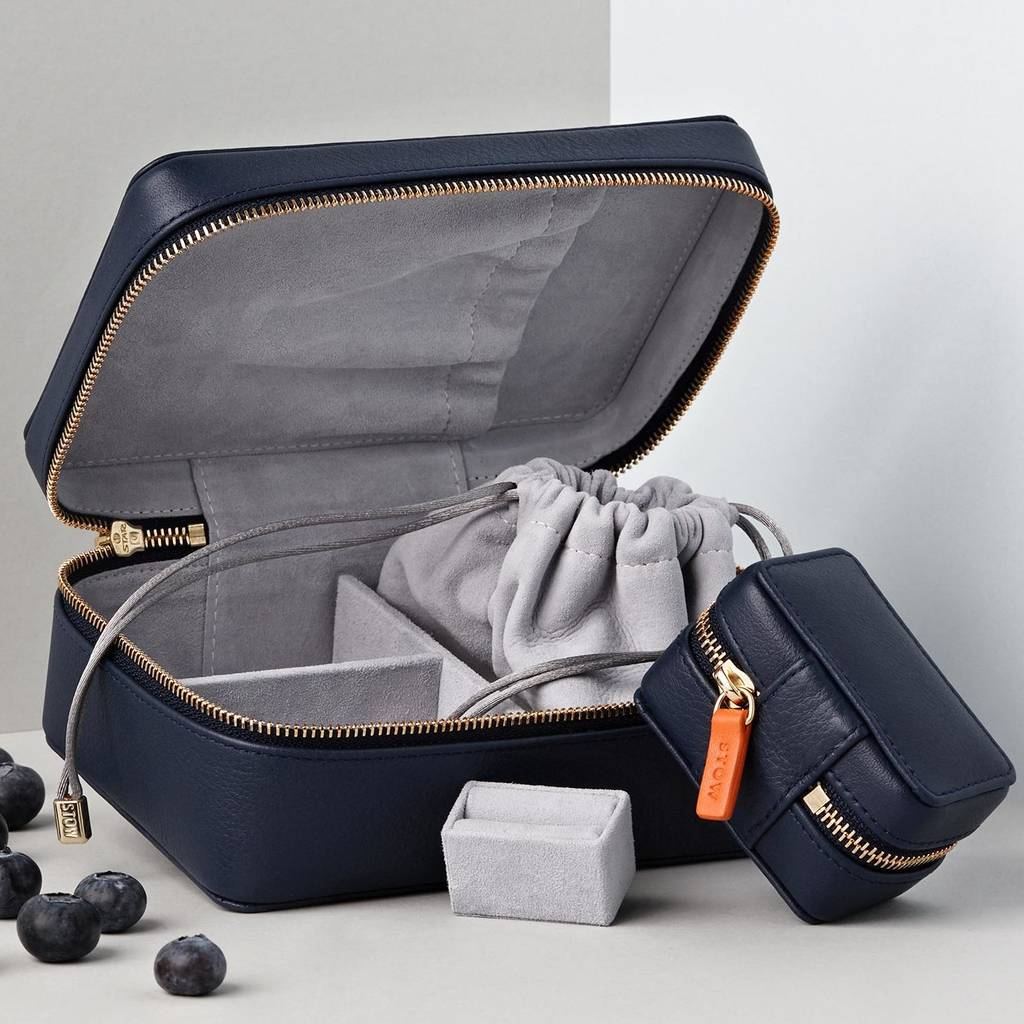 Personalised Luxury Soft Jewellery Case Travel Gift Set by Stow
