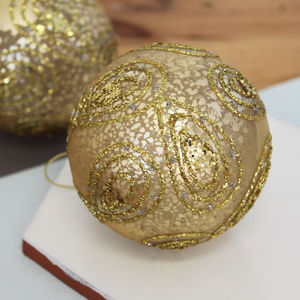 Antique Gold Paisley Bauble - tree decorations
