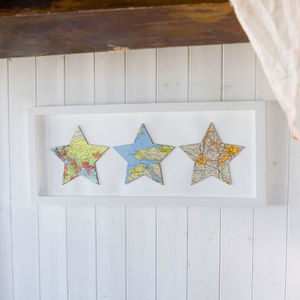 Three Map Stars Personalised Wedding Anniversary Print - posters & prints