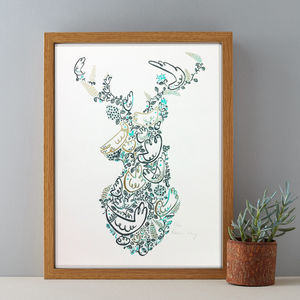 Stags Head Decorative Woodland Screenprint
