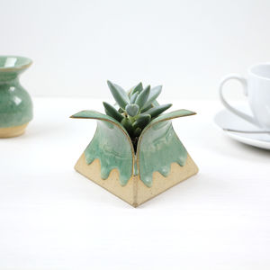 Ceramic Pyramid Planter With Drippy Glaze - terrariums