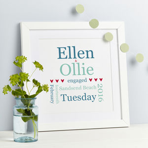Personalised Typographic Engagement Print