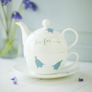 Bluebells Personalised China Teapot Cup And Saucer - crockery & chinaware
