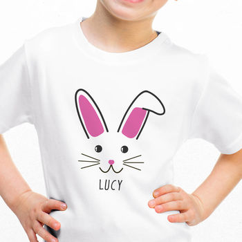 Children's Personalised Cute Bunny Face T Shirt