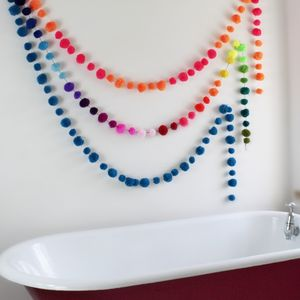 Multicoloured Pom Pom Bunting Garland - room decorations