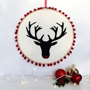 Handpainted Rudolph Pom Pom Embroidery Hoop Art