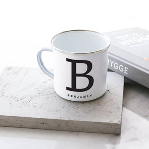 Personalised Capital Enamel Mug - summer sale
