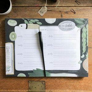 'What's On The Table' Vegetable A4 Weekly Menu Planner