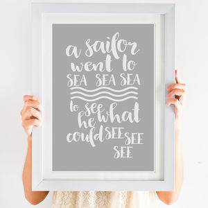 'A Sailor Went To Sea' Print