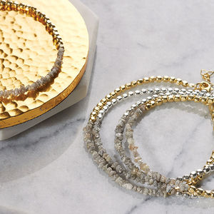 Gold And Silver White Diamond Birthstone Bracelet - bracelets & bangles