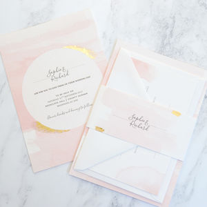 Blush Watercolour Wedding Invitation - wedding stationery