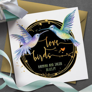 Personalised 'Love Birds' Wedding Card