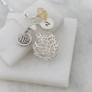 Personalised Celtic Heart Locket With Birthstone - lockets