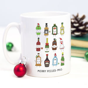 'Merry Pissedmas' Christmas Mug - stocking fillers for her