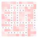 Personalised Contemporary Crossword - closeup of pale pink crossword