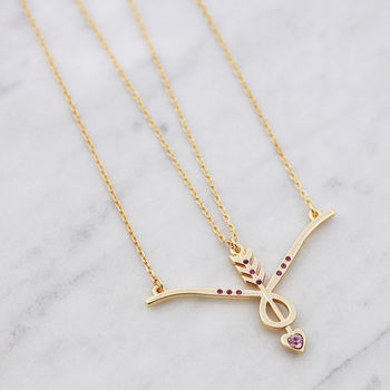 main arrow necklace and detailmain sterling vermeil in silver gold heart lrg phab rose