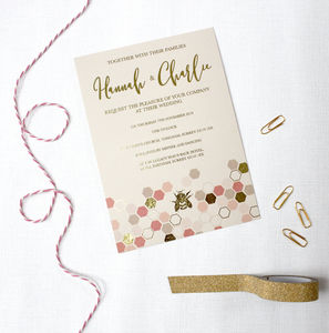Gold Foil Bee Wedding Invitations - invitations