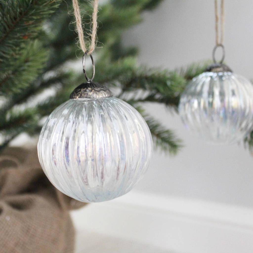 four curved glass christmas tree decorations lustre